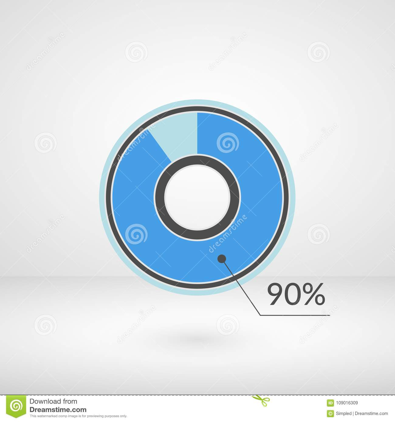 90 Percent Pie Chart Isolated Symbol Percentage Vector Infographics