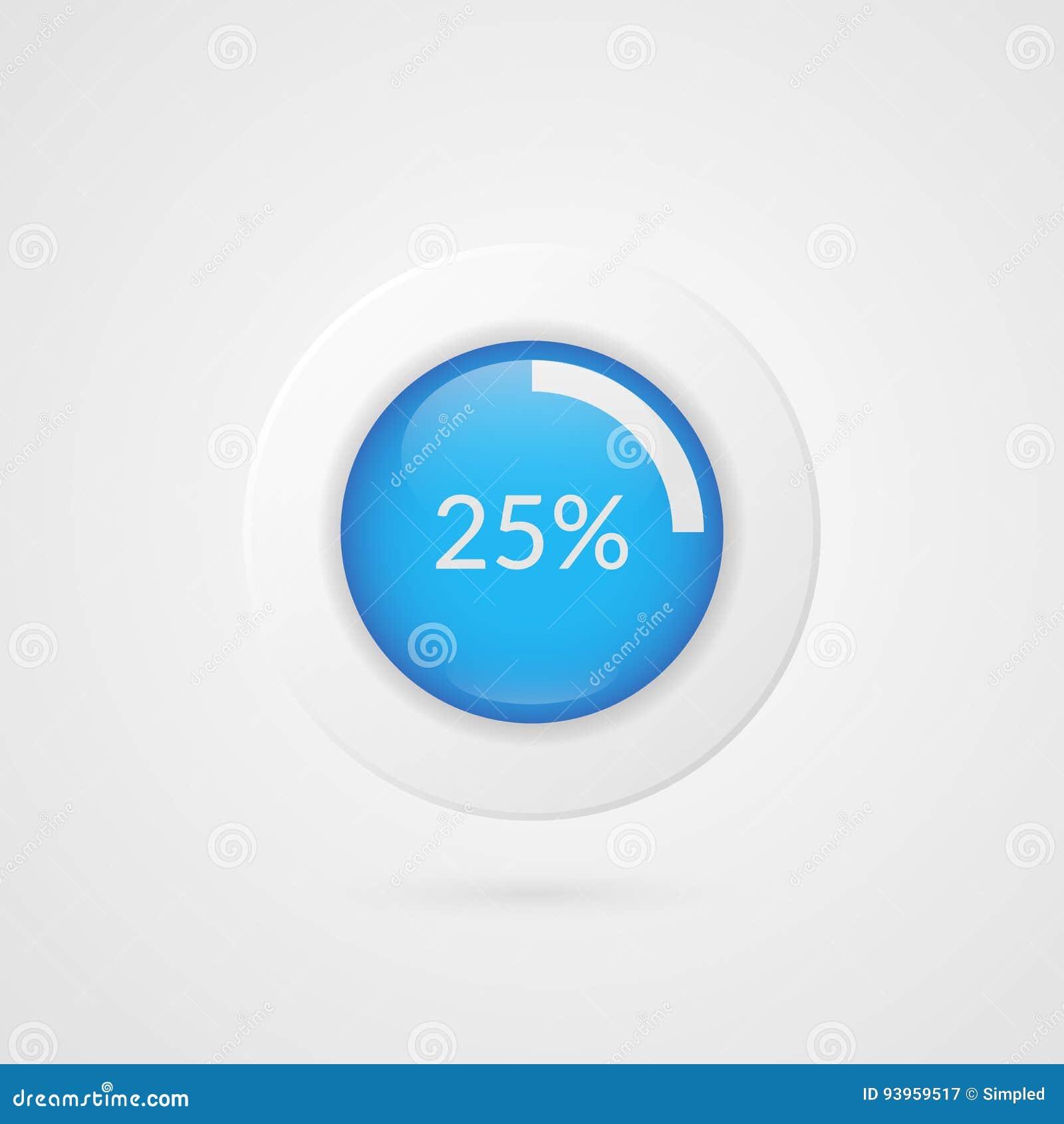 25 percent pie chart percentage vector infographics business