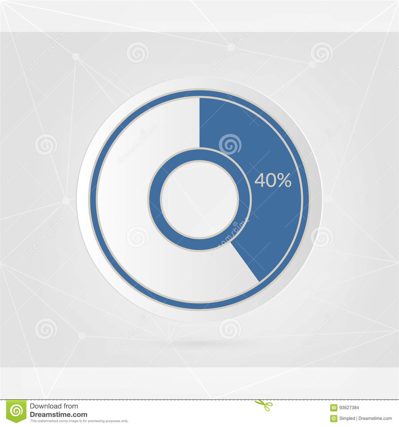 40 Percent Pie Chart Percentage Vector Infographics Circle Diagram