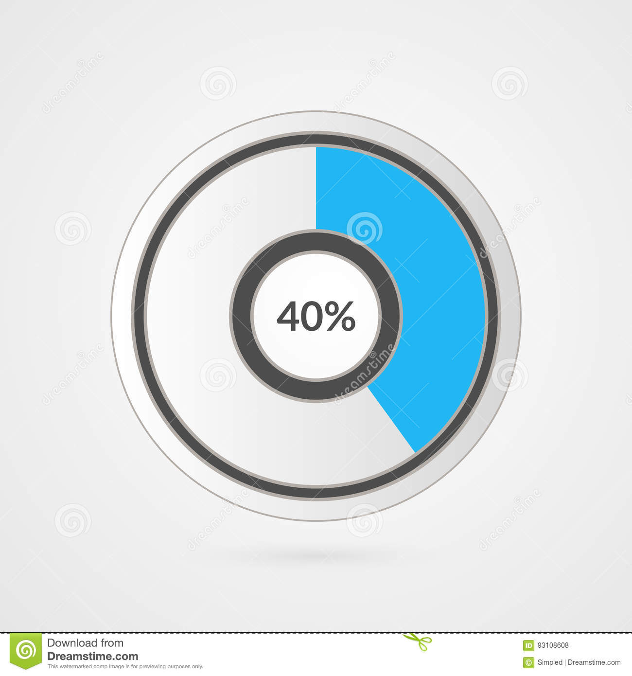 40 Percent Pie Chart Percentage Vector Infographics Forty Circle