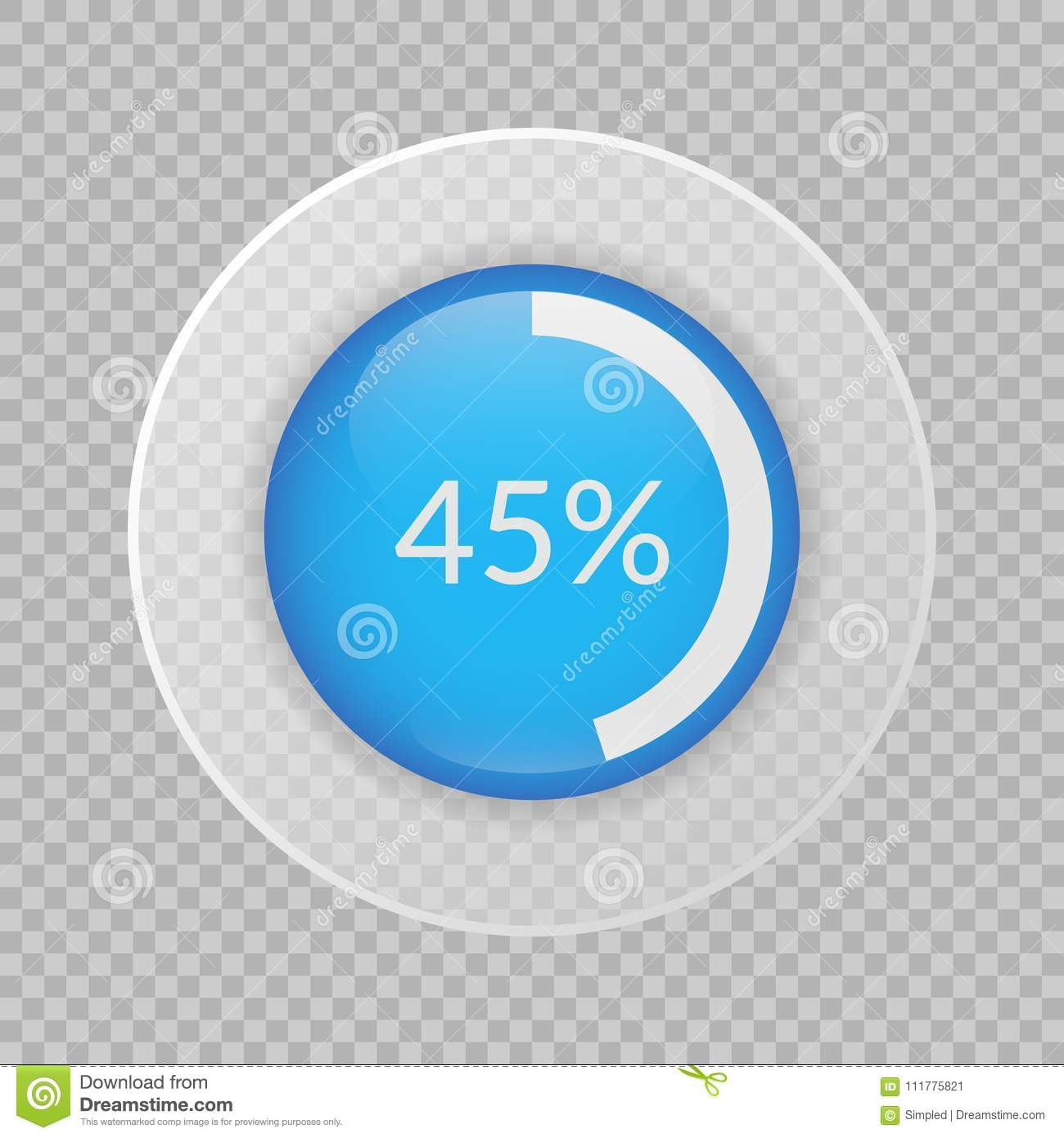 45 percent pie chart on transparent background. Percentage vector icon for business
