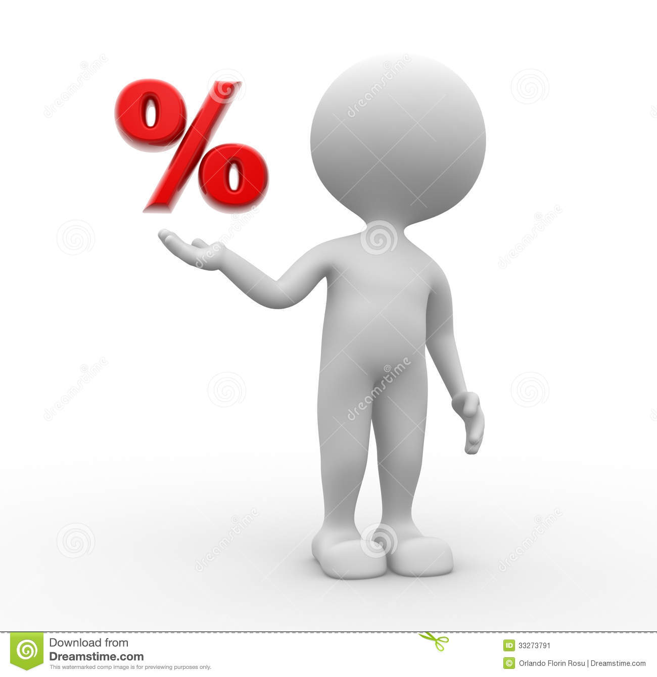 3d people man person and a percent sign
