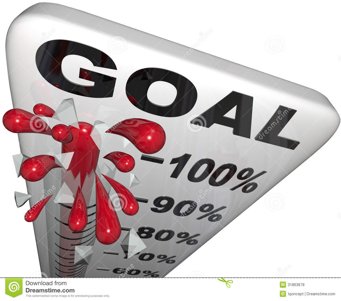 Percentage Progress To Goals Thermometer Growth Success ...