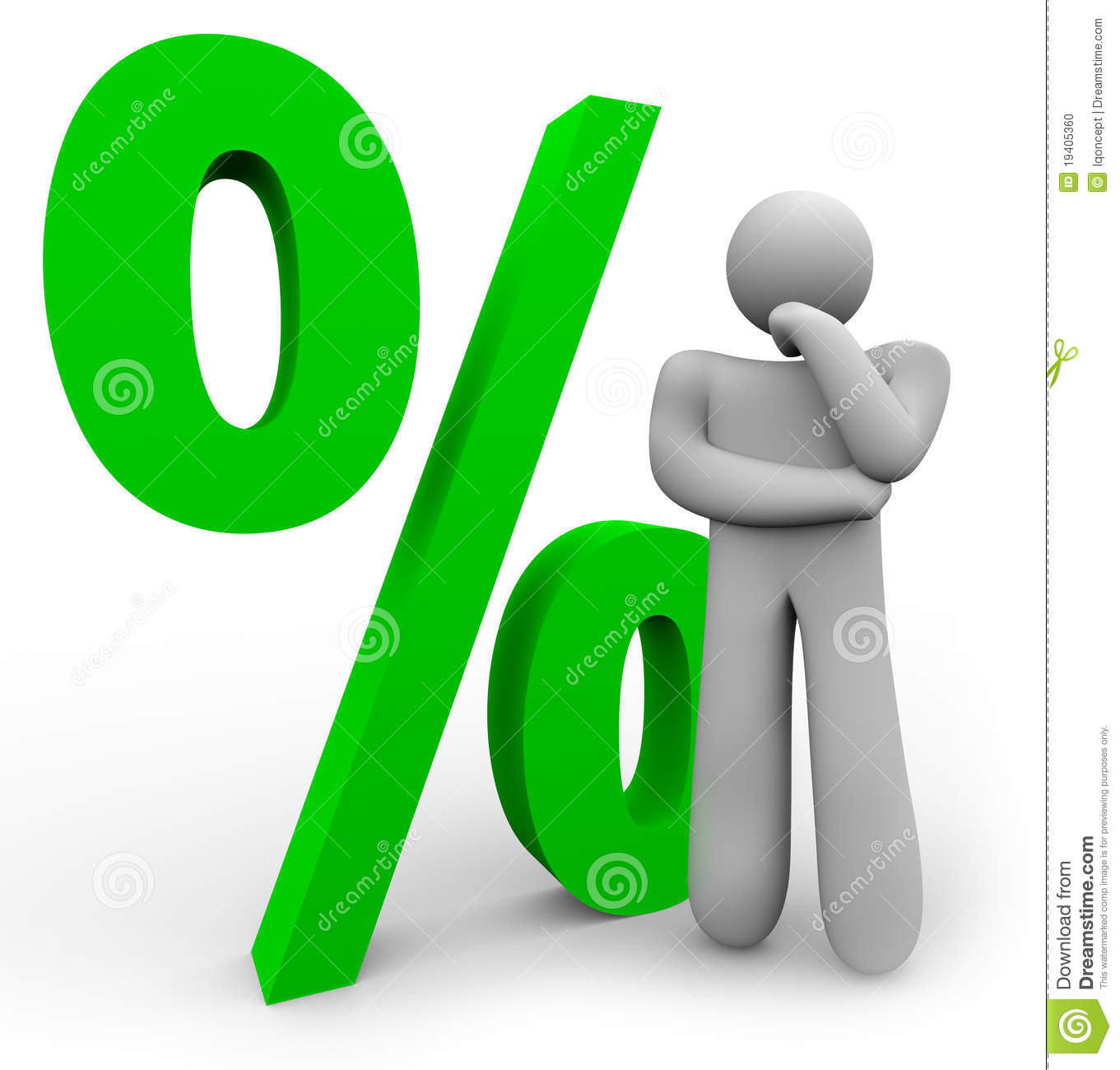 Percentage Sign - Thinking Man And Percent Symbol Stock Photo - Image ...