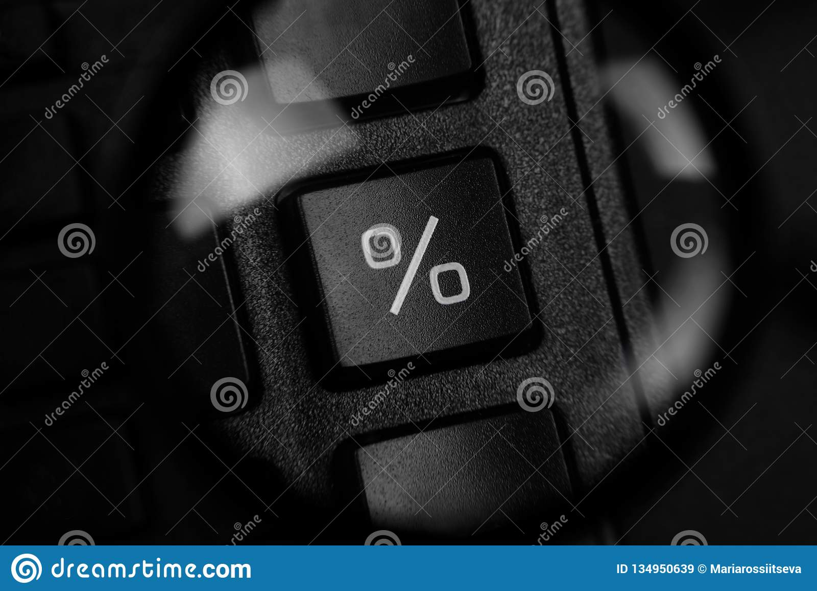 Percentageteken door meer magnifier