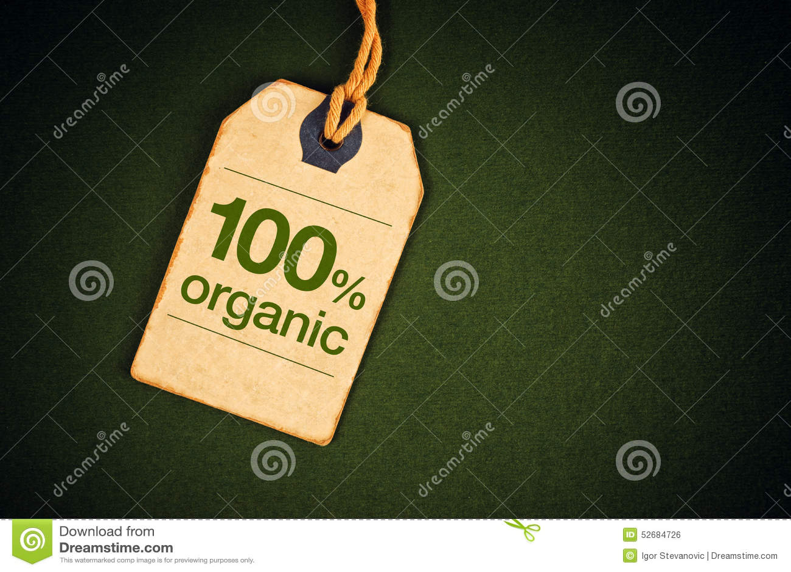 100 percenten Natuurvoeding op de Markering van het Prijsetiket