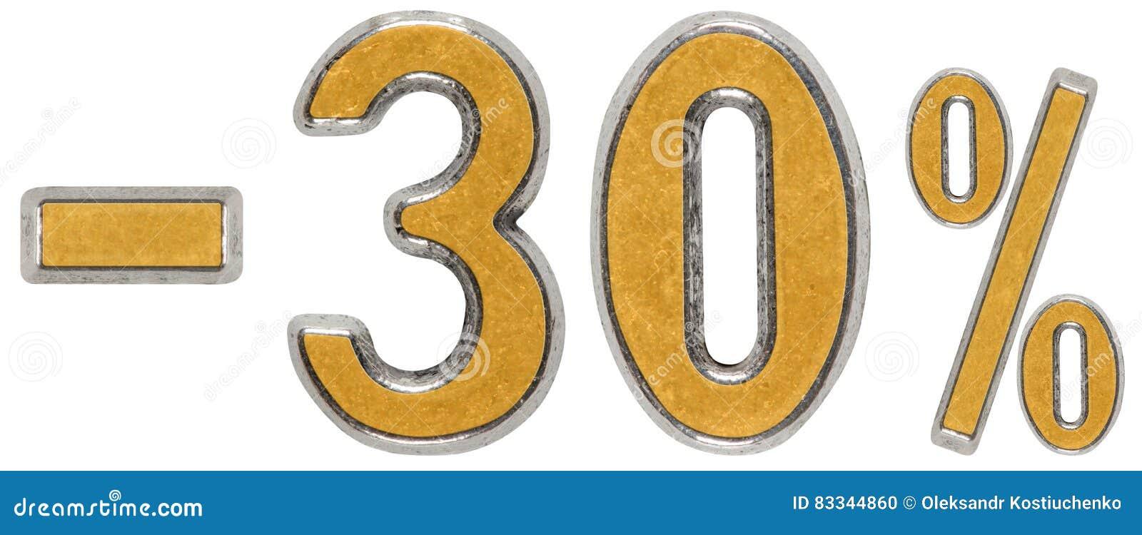 Percenten weg korting Minus 30, dertig, drie, percenten Metaal