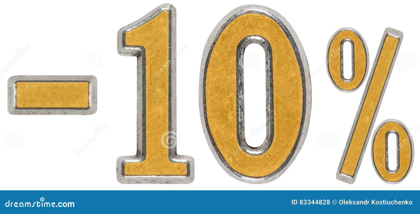 Percenten weg korting Minus 10, tien, percenten Metaalcijfer,