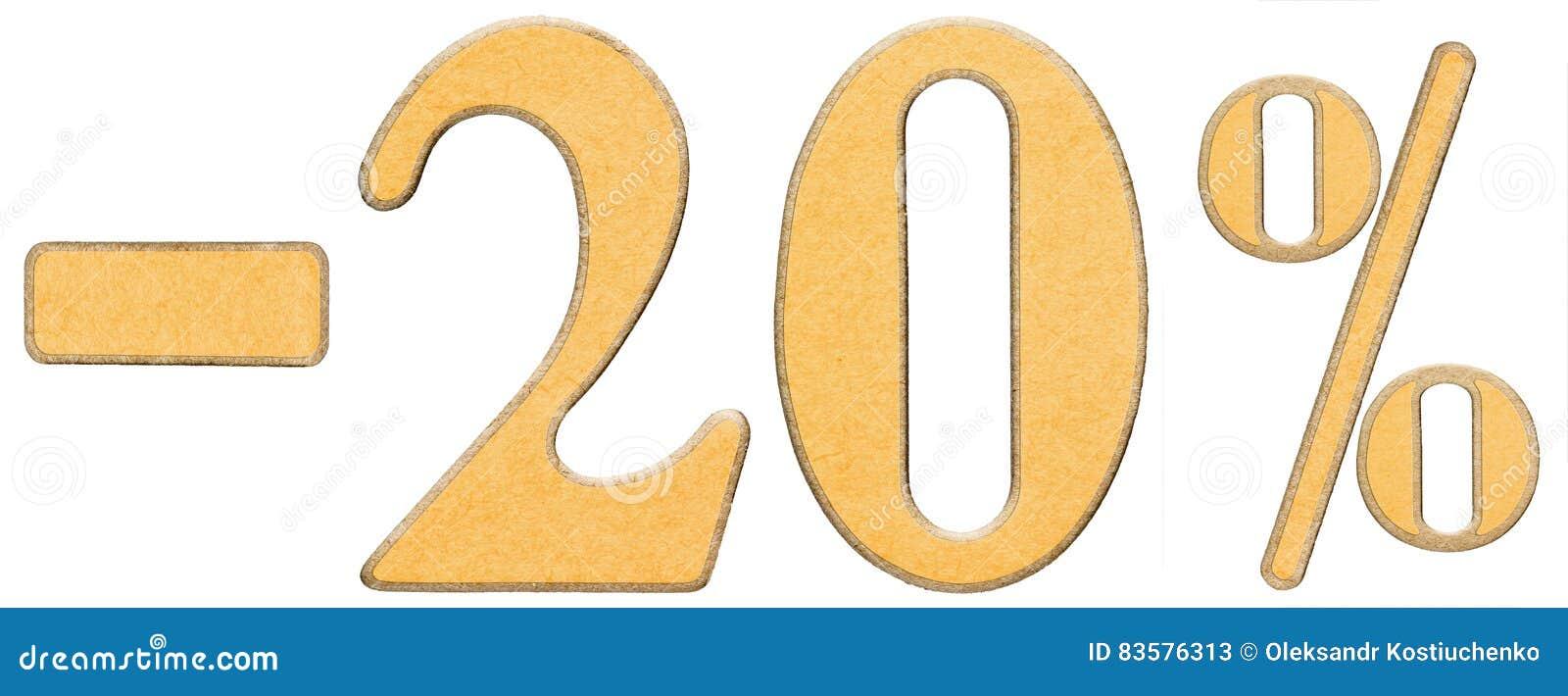 Percenten weg korting Minus 20 twintig percenten, isoleren de cijfers