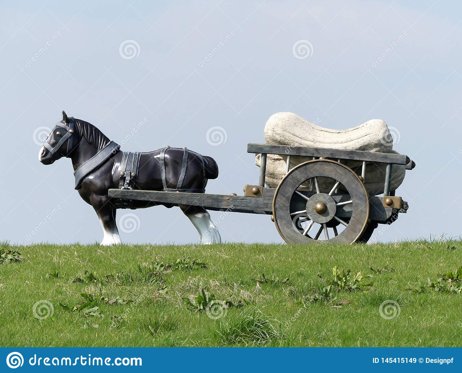 Perceval końska i fura rzeźba Sara Lucus, wiatraczka wzgórze, Waddesdon