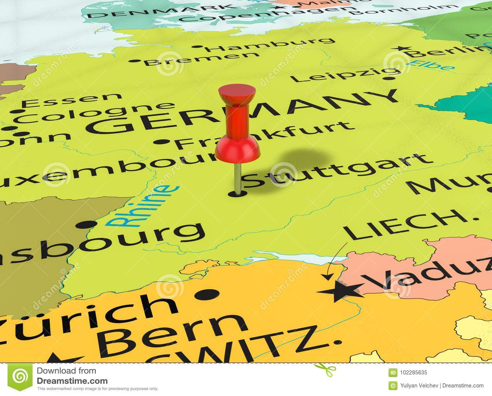 estugarda mapa Percevejo No Mapa De Estugarda Ilustração Stock   Ilustração de  estugarda mapa