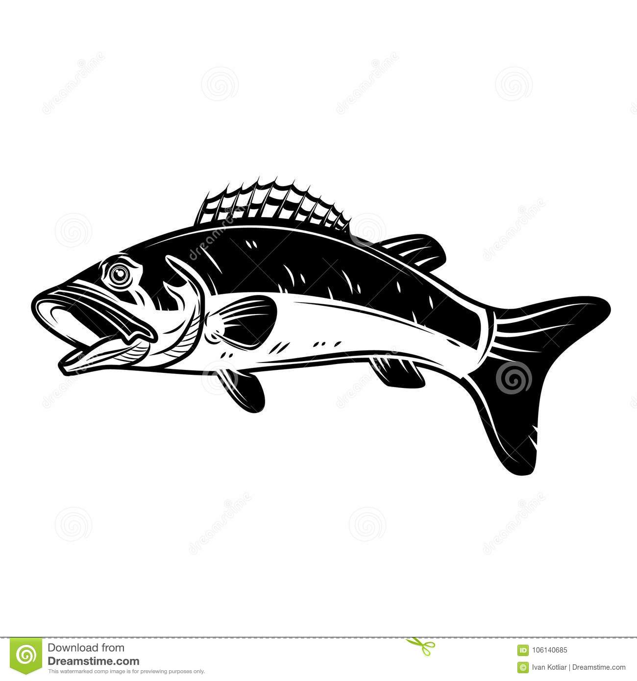 perch fish icon isolated on white background  design element for logo  label  emblem  sign