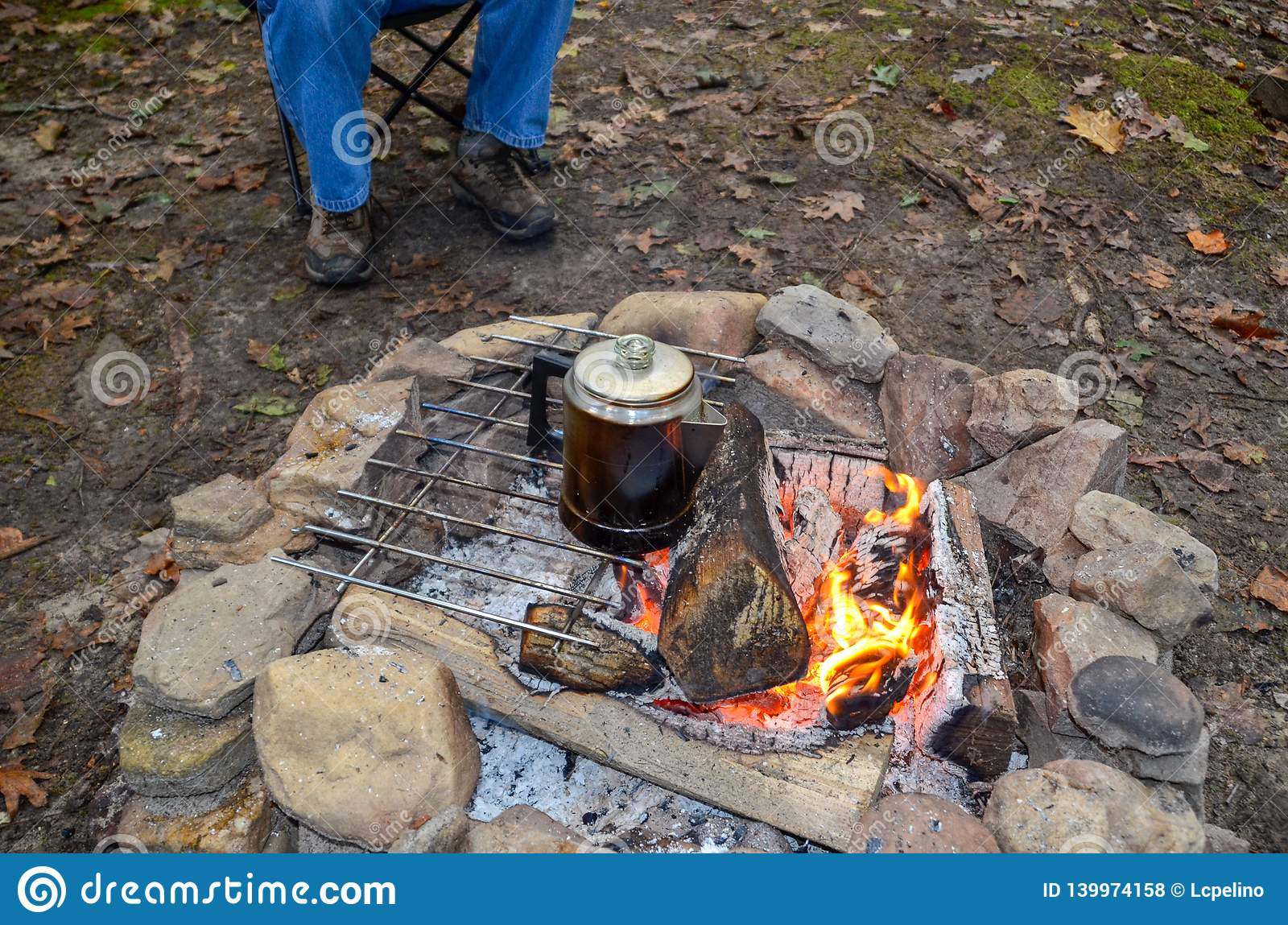 Percolating Coffee Over An Open Fire Stock Photo Image Of Metal Percolator 139974158