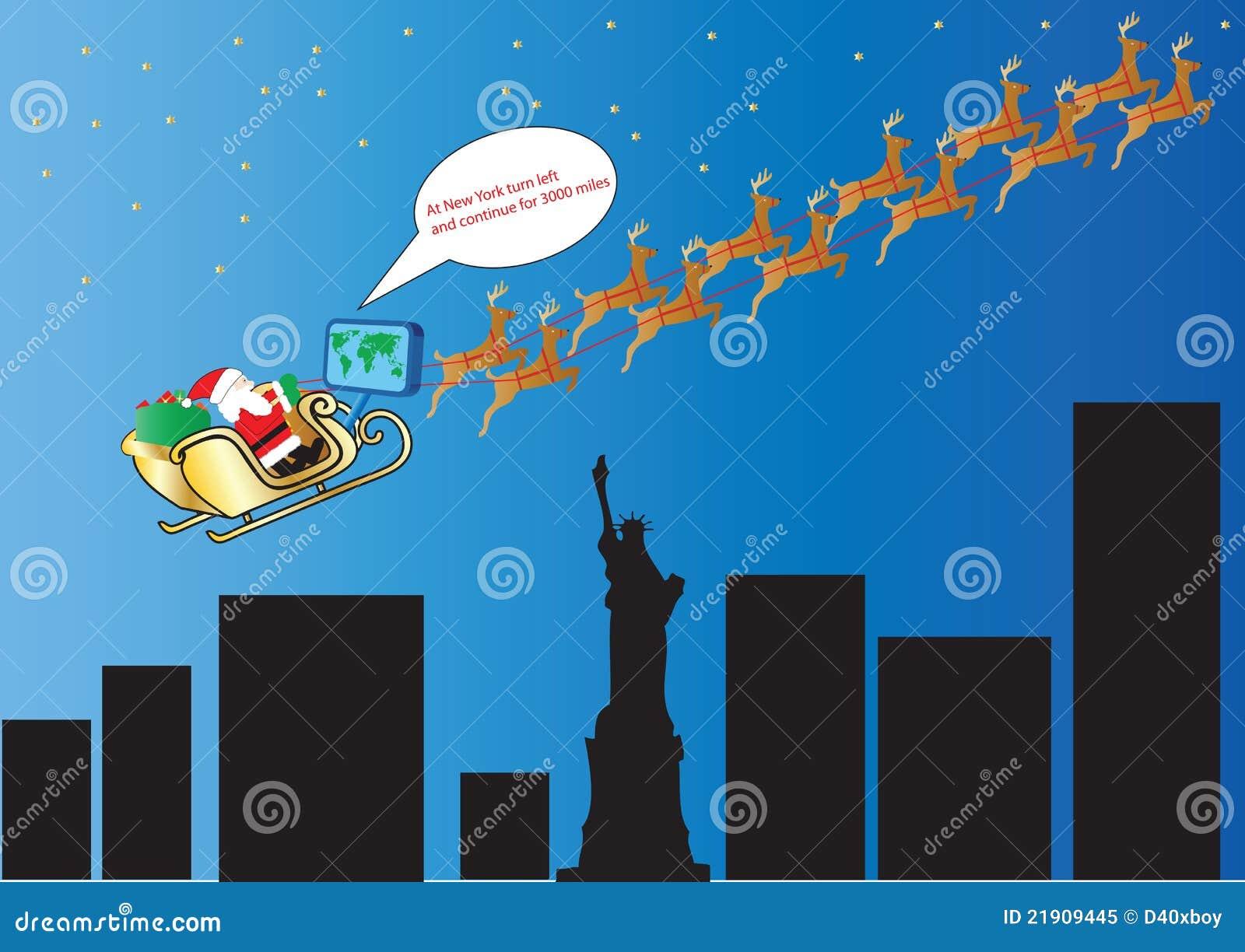 Il Percorso Di Babbo Natale.Percorso Del Satellite Del Babbo Natale Illustrazione