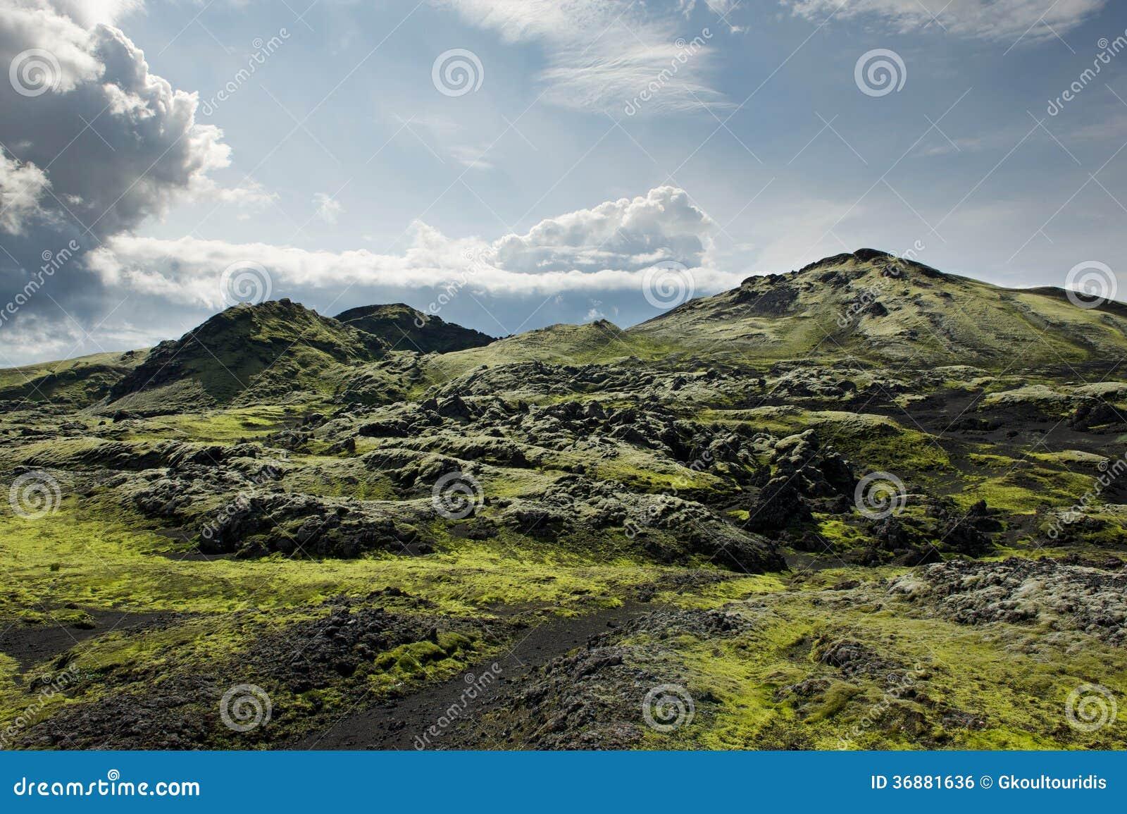 Download Percorso Fra Le Rocce Coperte Di Muschio Ad Area Di Lakagigar, Islanda Fotografia Stock - Immagine di geotermico, islanda: 36881636