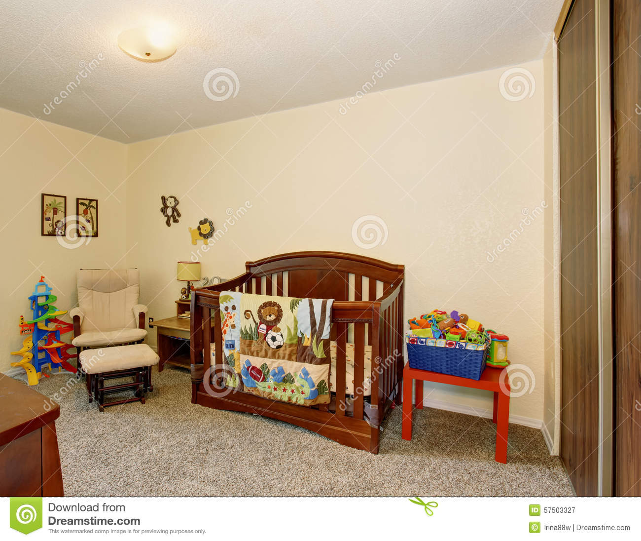 Perfect baby room with excellent wooden crib.