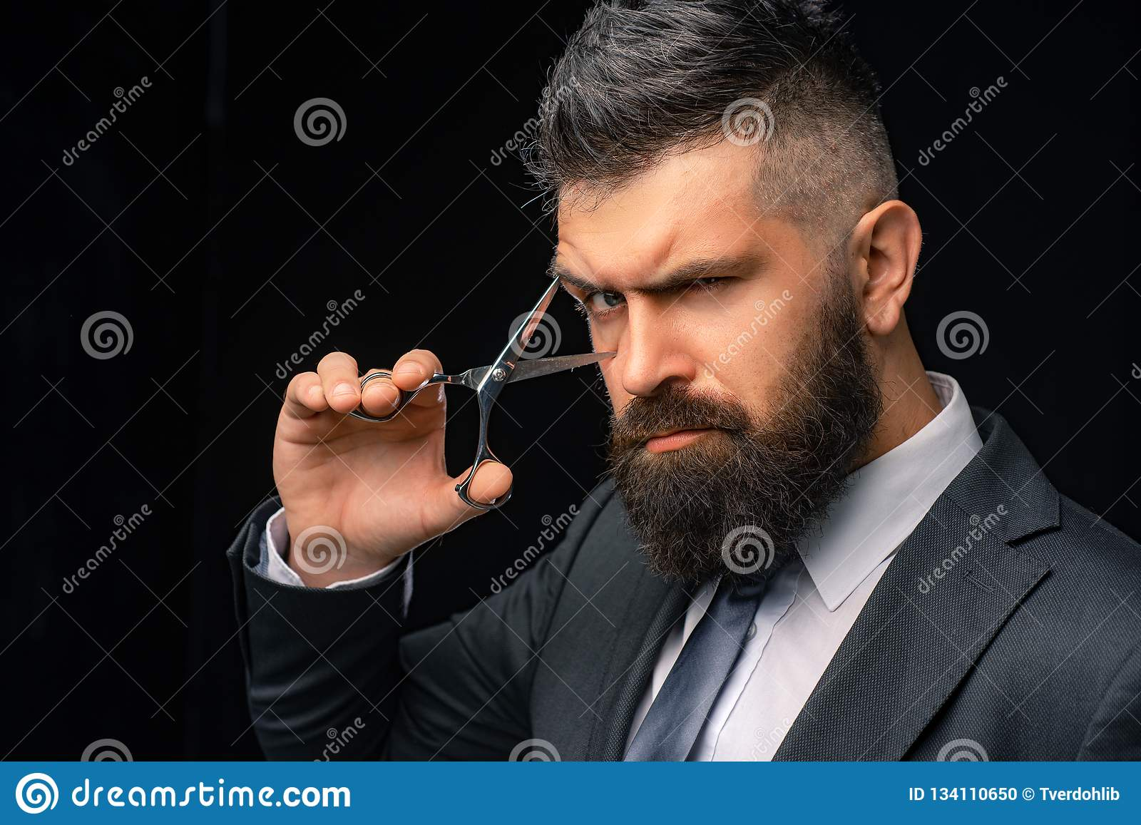 Perfect beard. Haircuts for men. Stylish and hairstyle. Hair salon and barber vintage. Barber shop. Barber on black