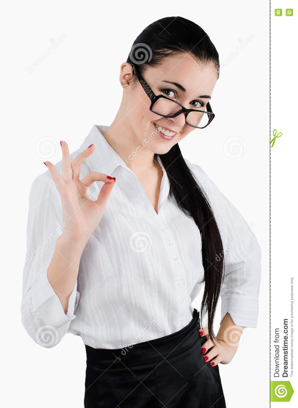 Perfect - business woman showing OK hand sign smiling happy. White background. Studio shot