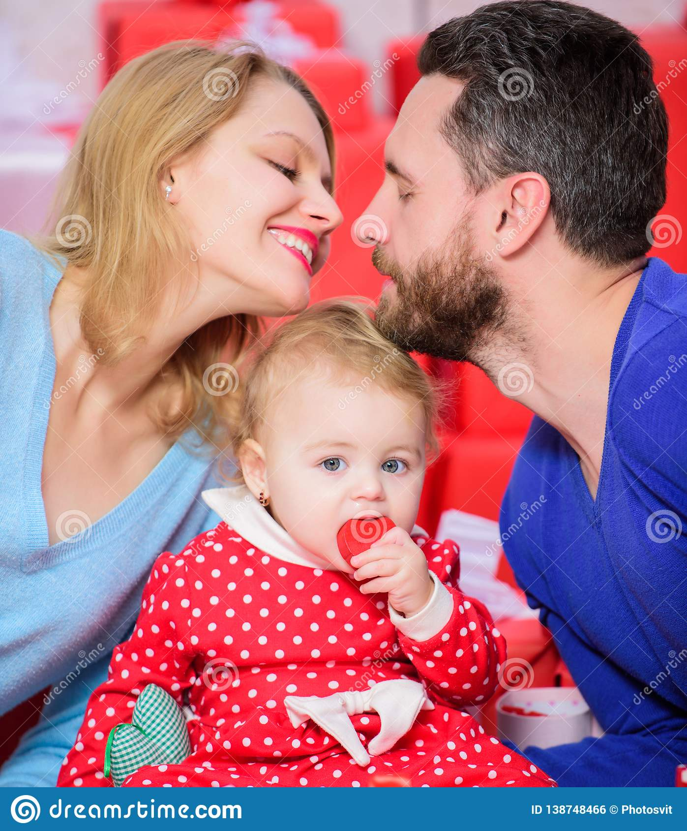 Perfect celebration. Family celebrate their love. Romantic couple in love and baby girl. Valentines day concept