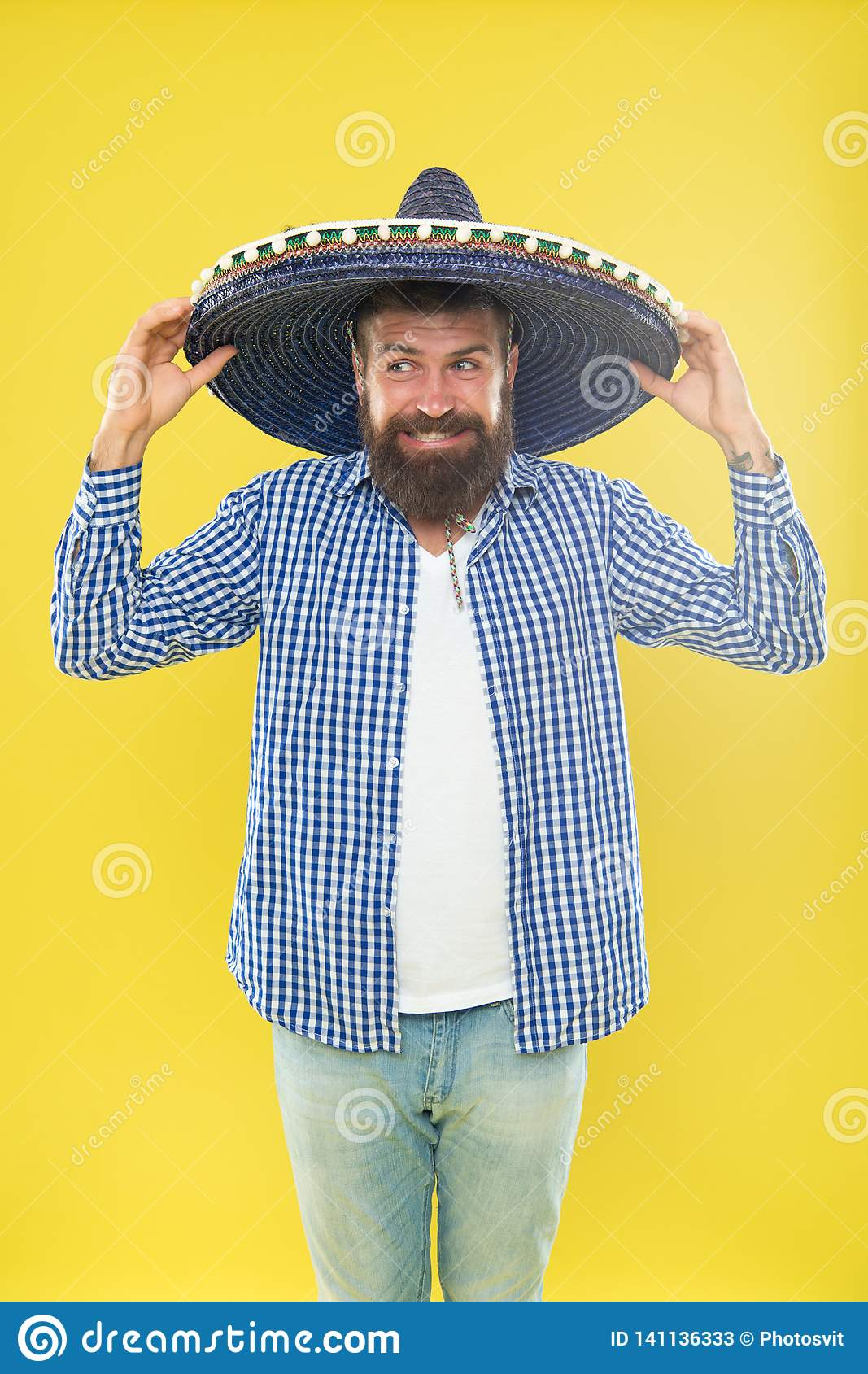 9322e75491c Perfect for cinco de mayo celebration. Bearded man in mexican hat. Hipster  in wide