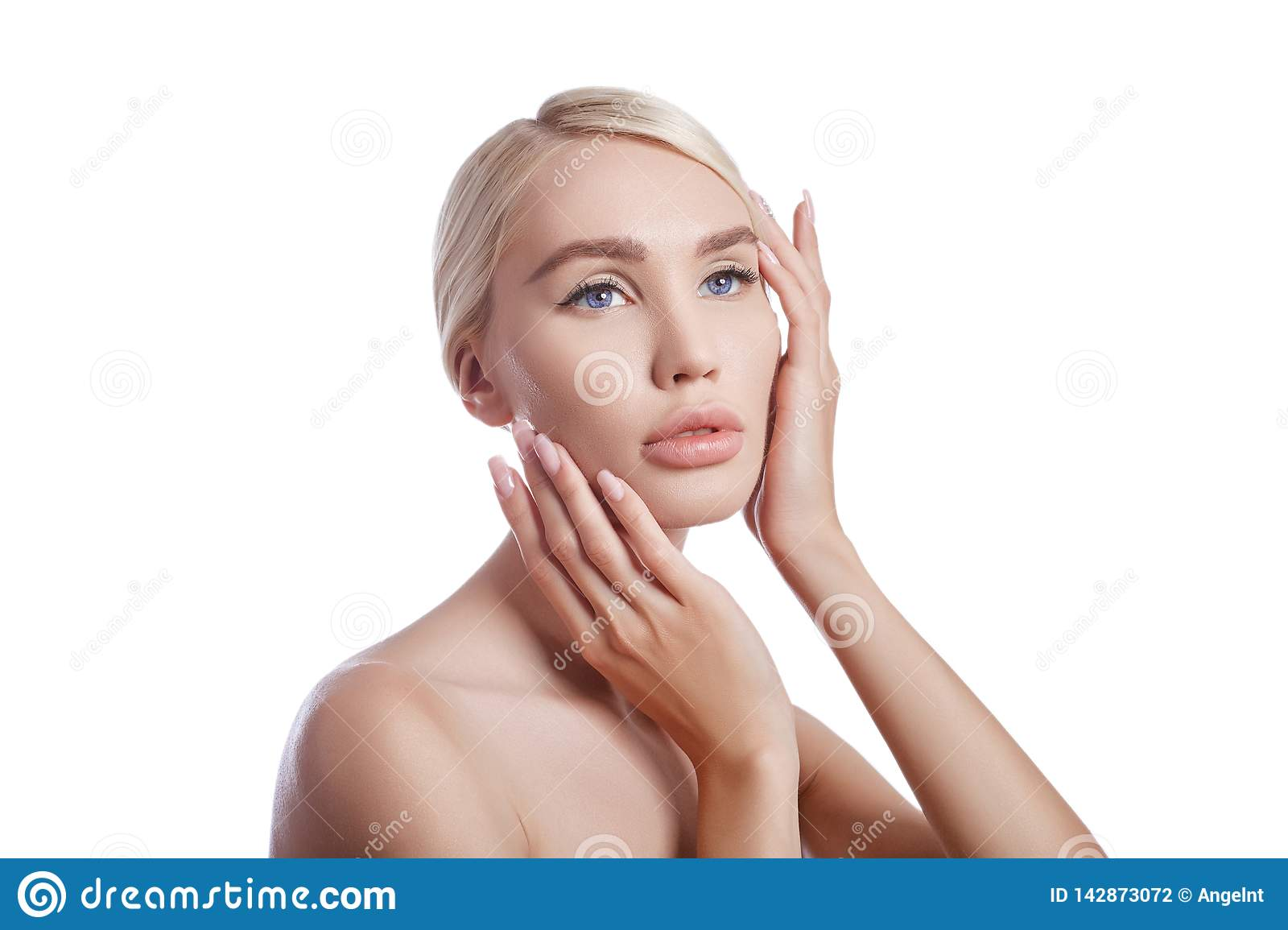 Perfect clean skin of a woman, a cosmetic for wrinkles. Rejuvenating effect on the skin care. Clean pores no wrinkles. Girl blonde