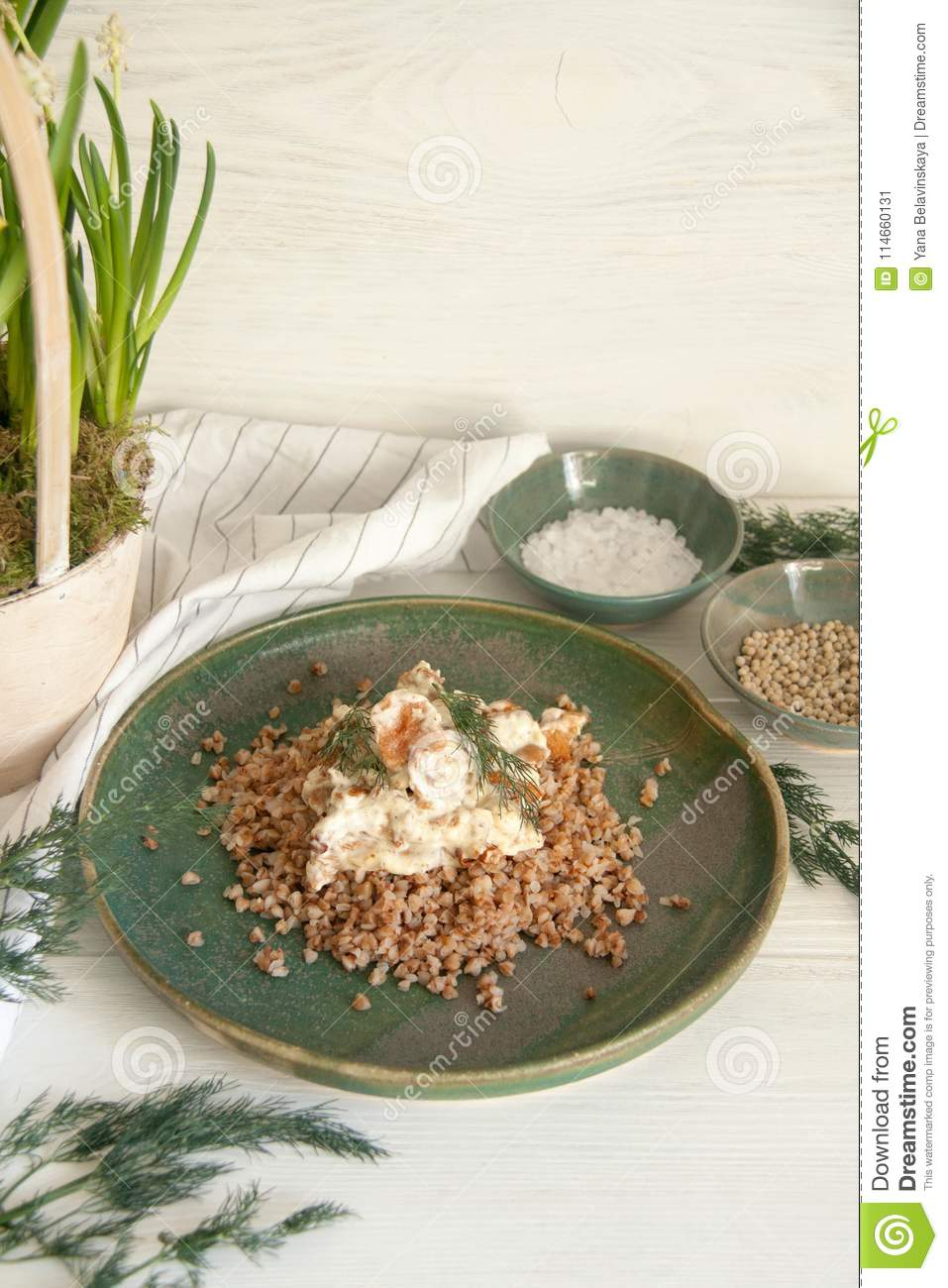 Buckwheat with mushrooms in sour cream sauce