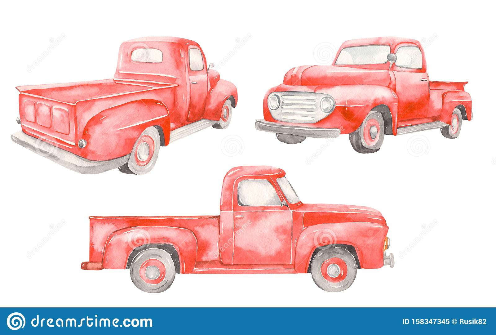 Watercolor Red Old Car Pickup Front View Side Back On White Background Stock Illustration Illustration Of Rear Christmas 158347345