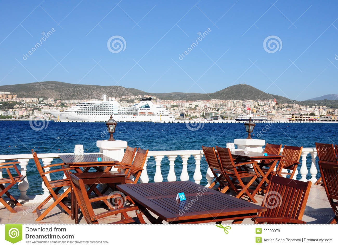 Perfect dinner spot on a terrace in kusadasi royalty free for Dinner on the terrace
