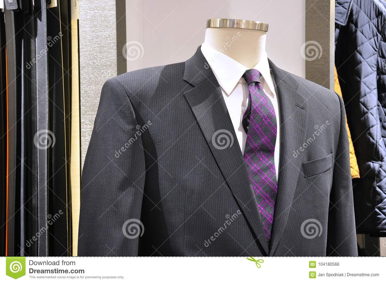 564eb8eb33a8 The Perfect Elegant Grey Suit With Purple Tie Stock Photo - Image of ...