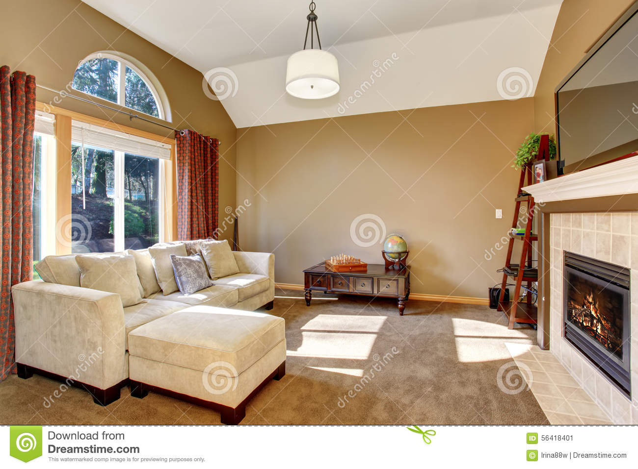 Perfect family living room with carpet and hanging light fixture