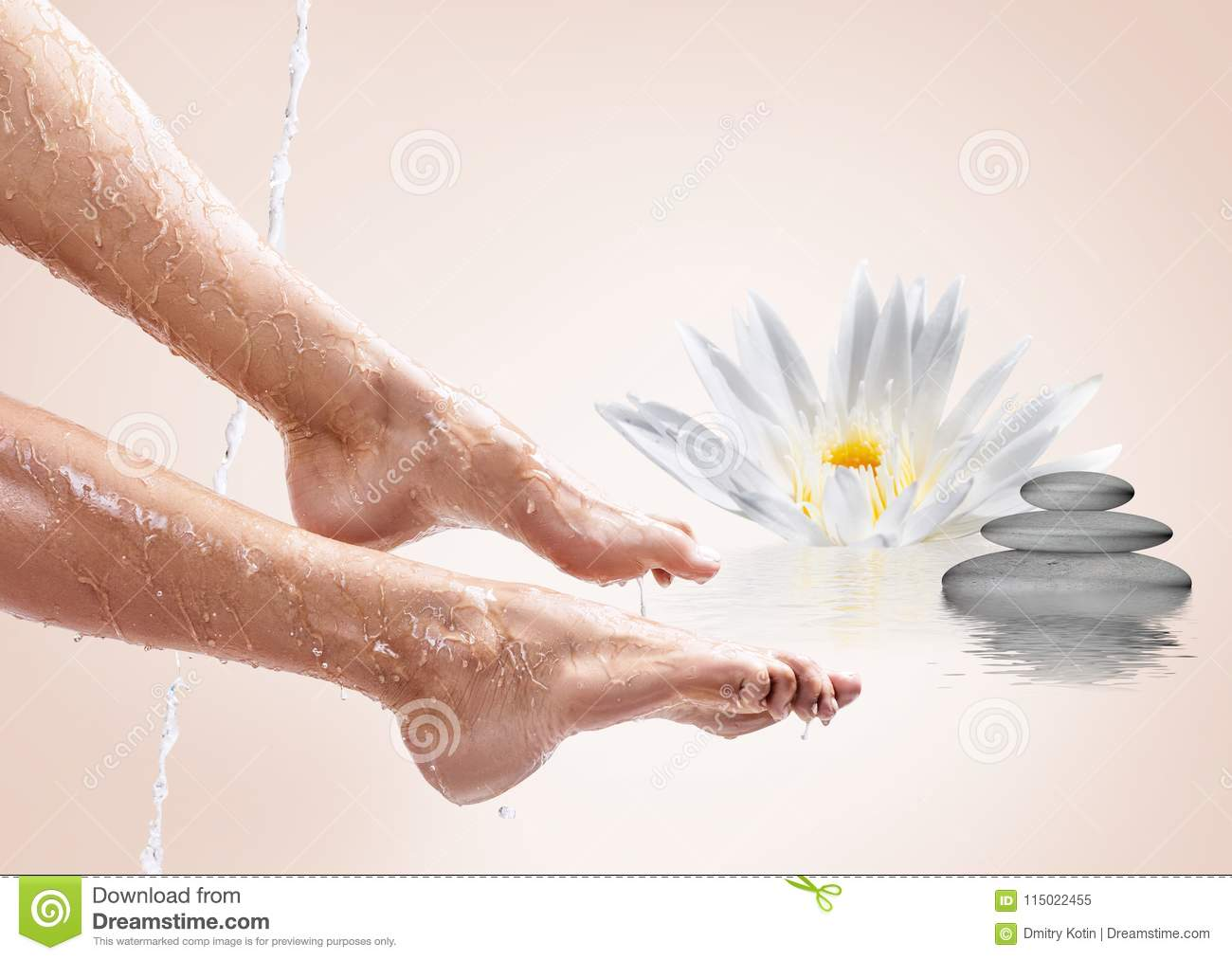Perfect female legs in water with lotus flower spa concept stock download perfect female legs in water with lotus flower spa concept stock image izmirmasajfo