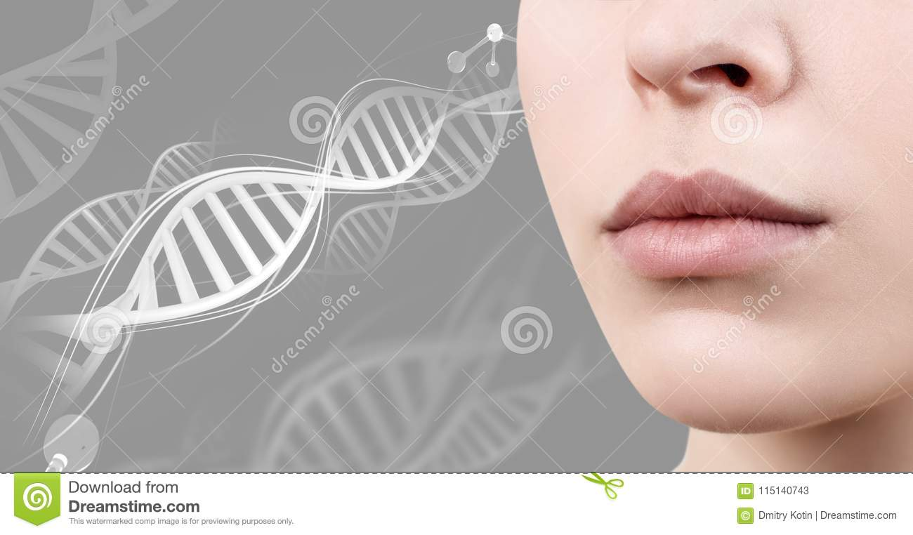 5df721da7c432 Perfect Female Lips Among DNA Chains. Stock Image - Image of ...