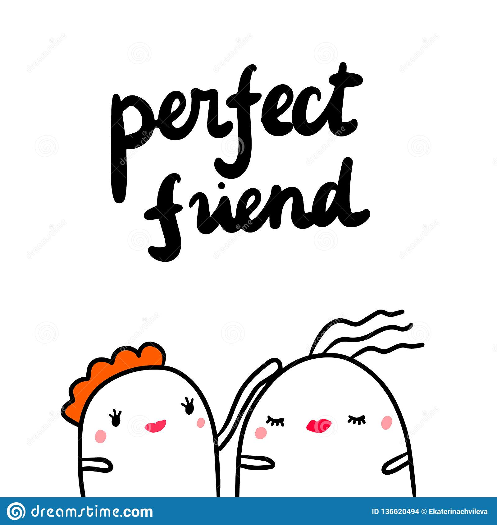 Perfect friend hand drawn illustration with cute marshmallows supporting each other