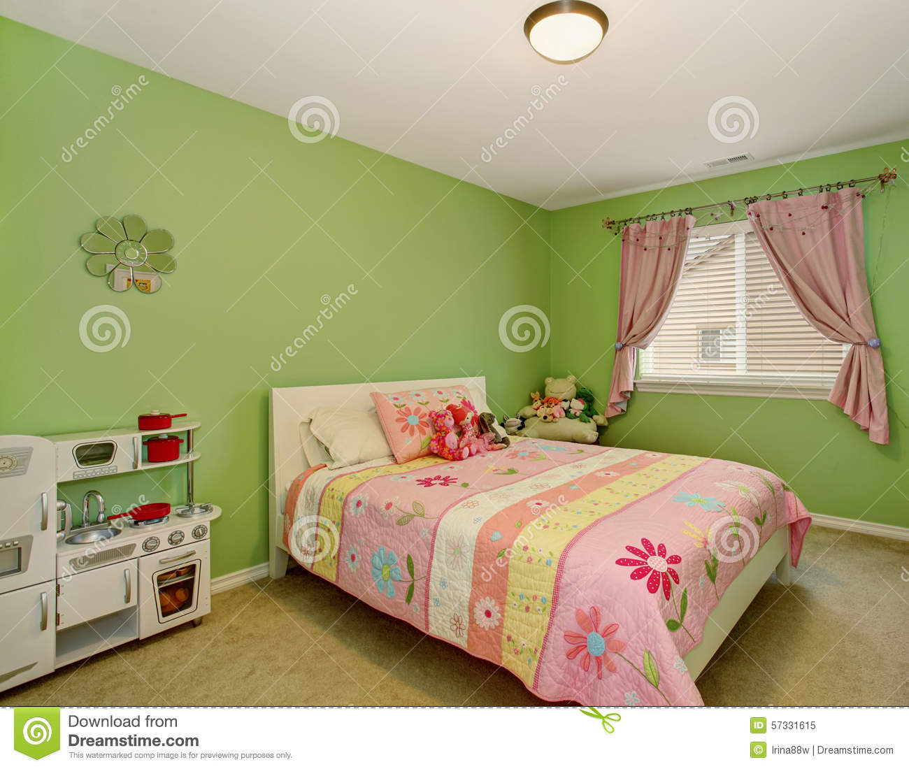 Perfect Girls Bedroom With Green Walls. Stock Image
