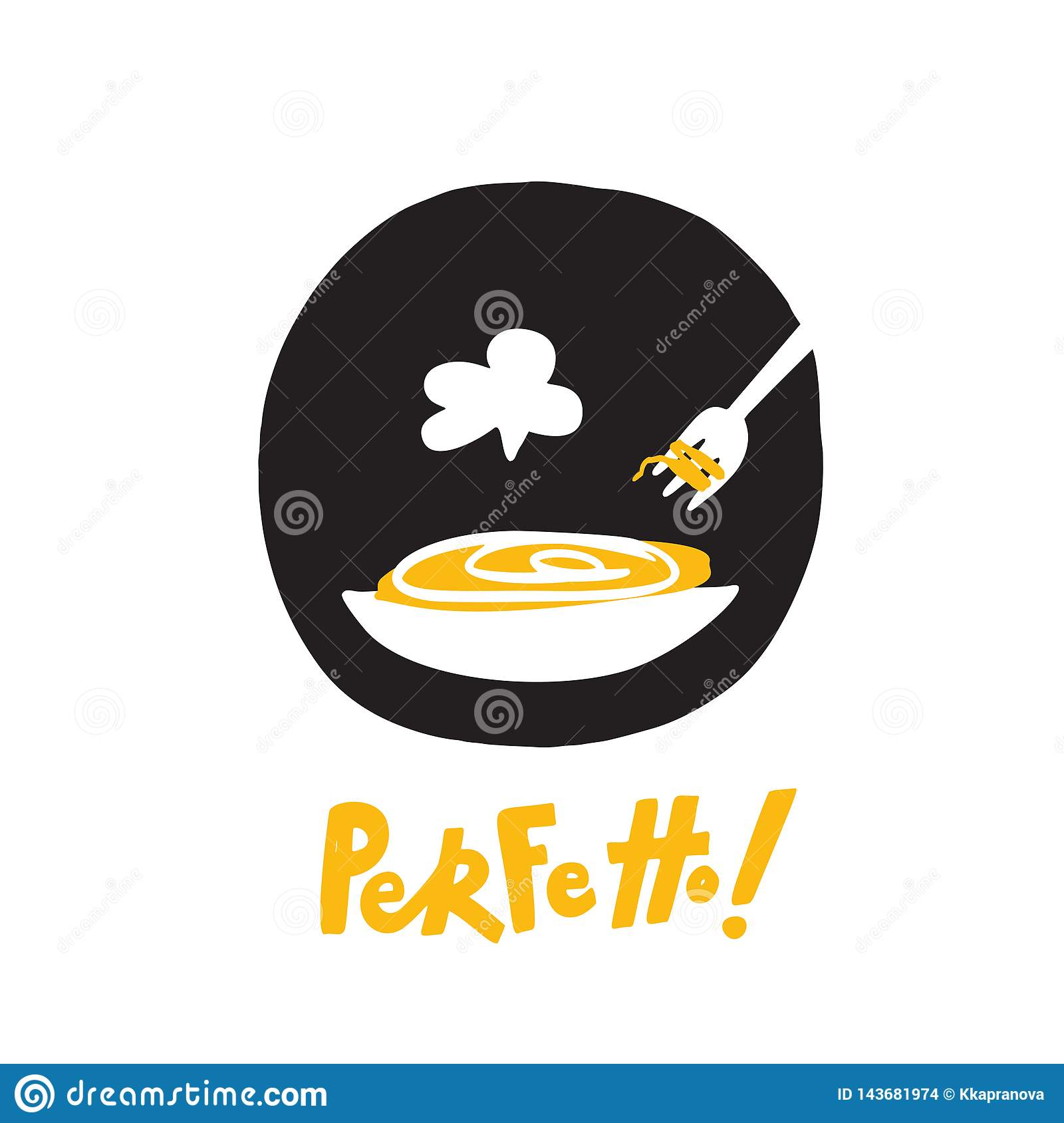 Perfect in italian Perfetto. Funny hand drawn illustration of plate with spaghetti and fork. Vector design