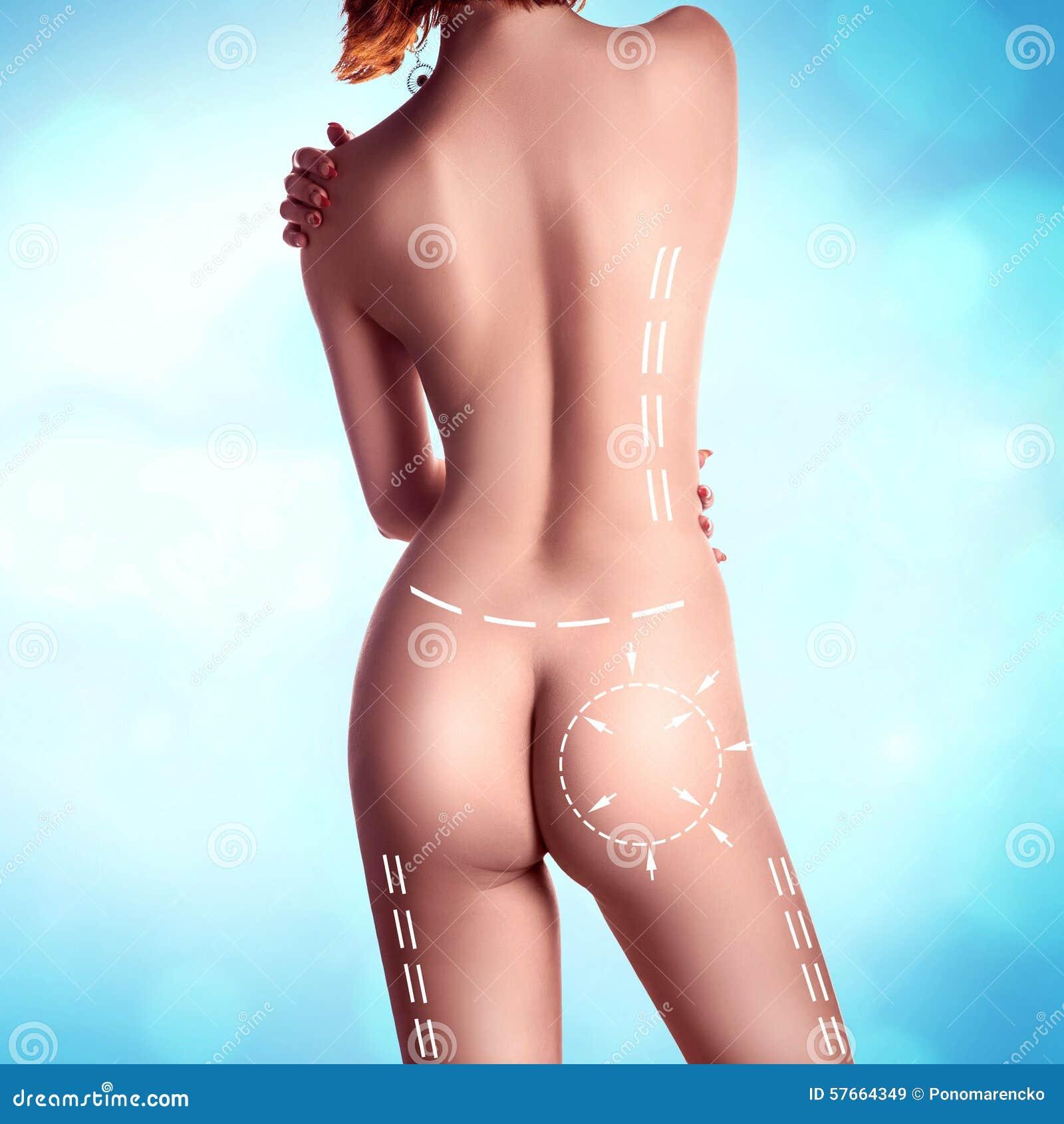 Perfect kobiety ciało od behind z rysunkowymi strzała i lampasami