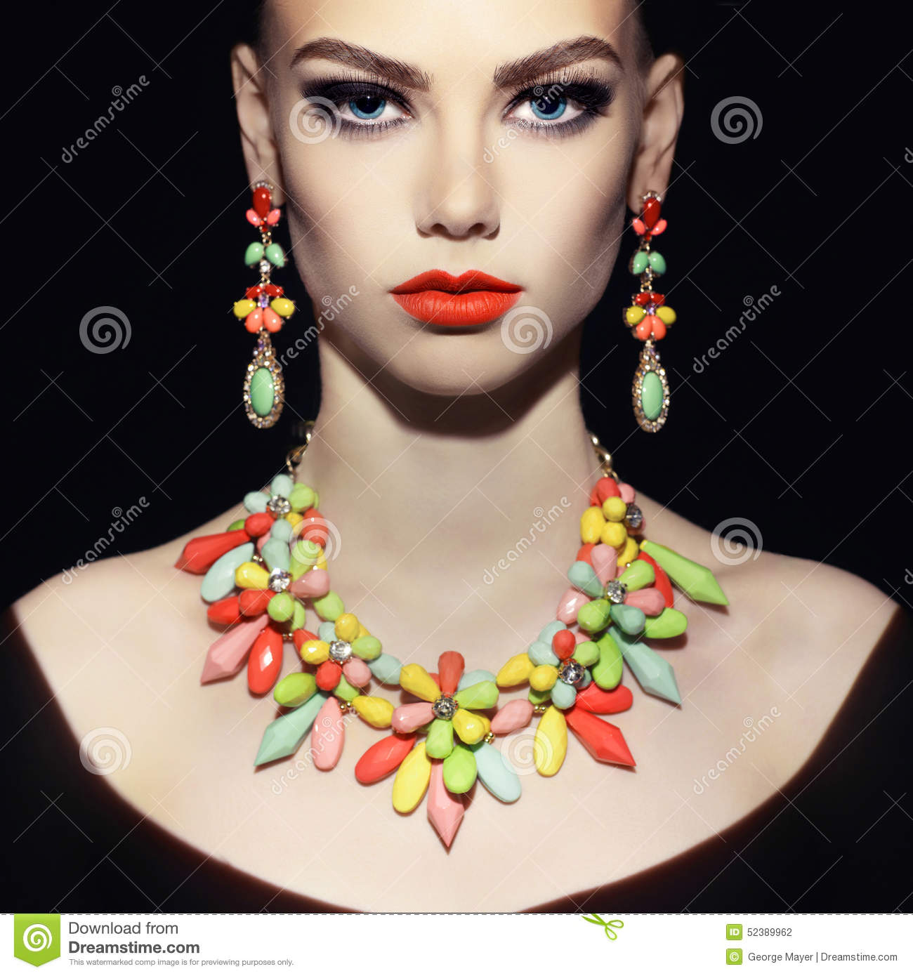 Perfect Lady With Jewelry Stock Photo