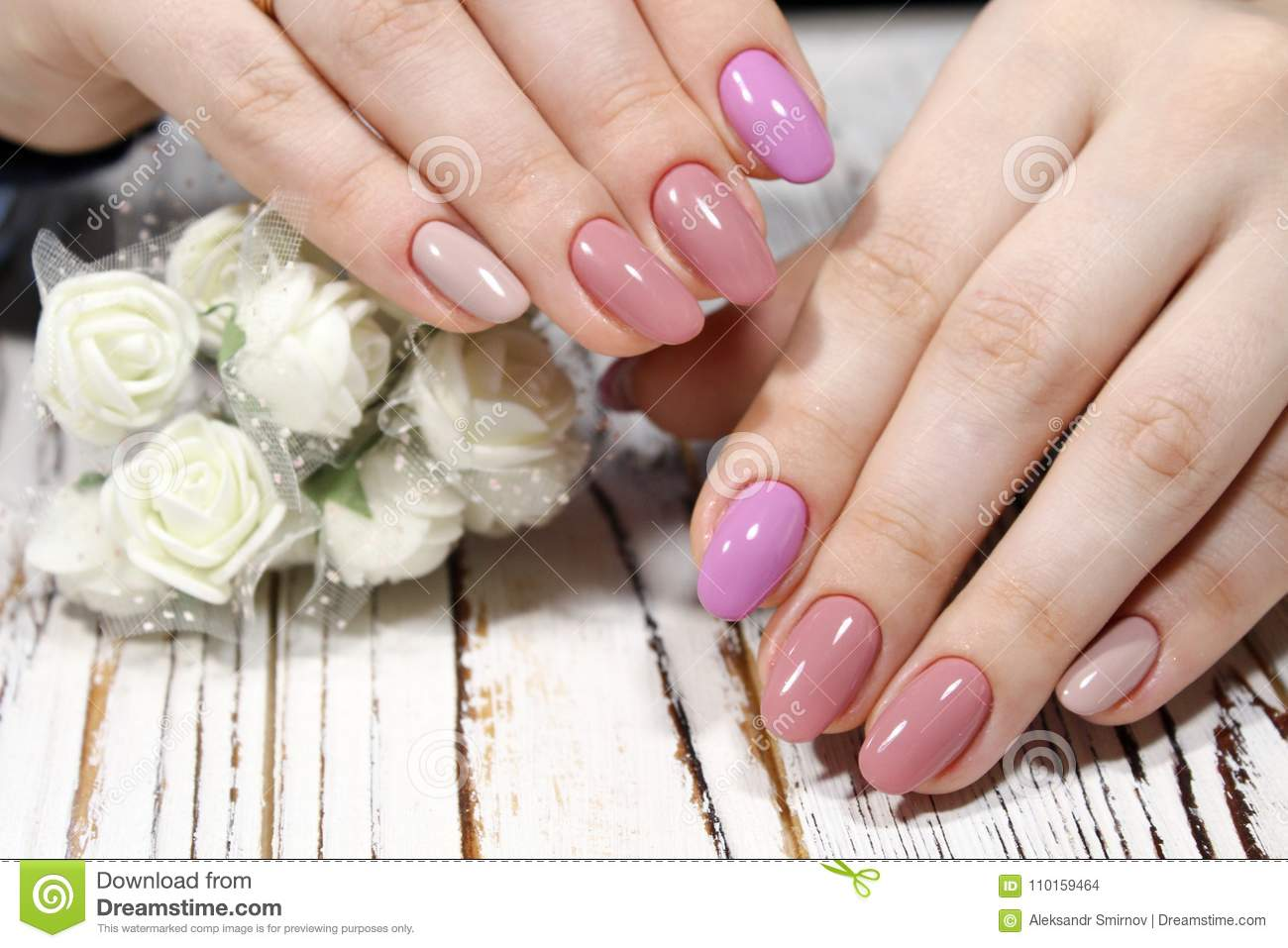 Perfect Manicure And Natural Nails  Stock Photo - Image of