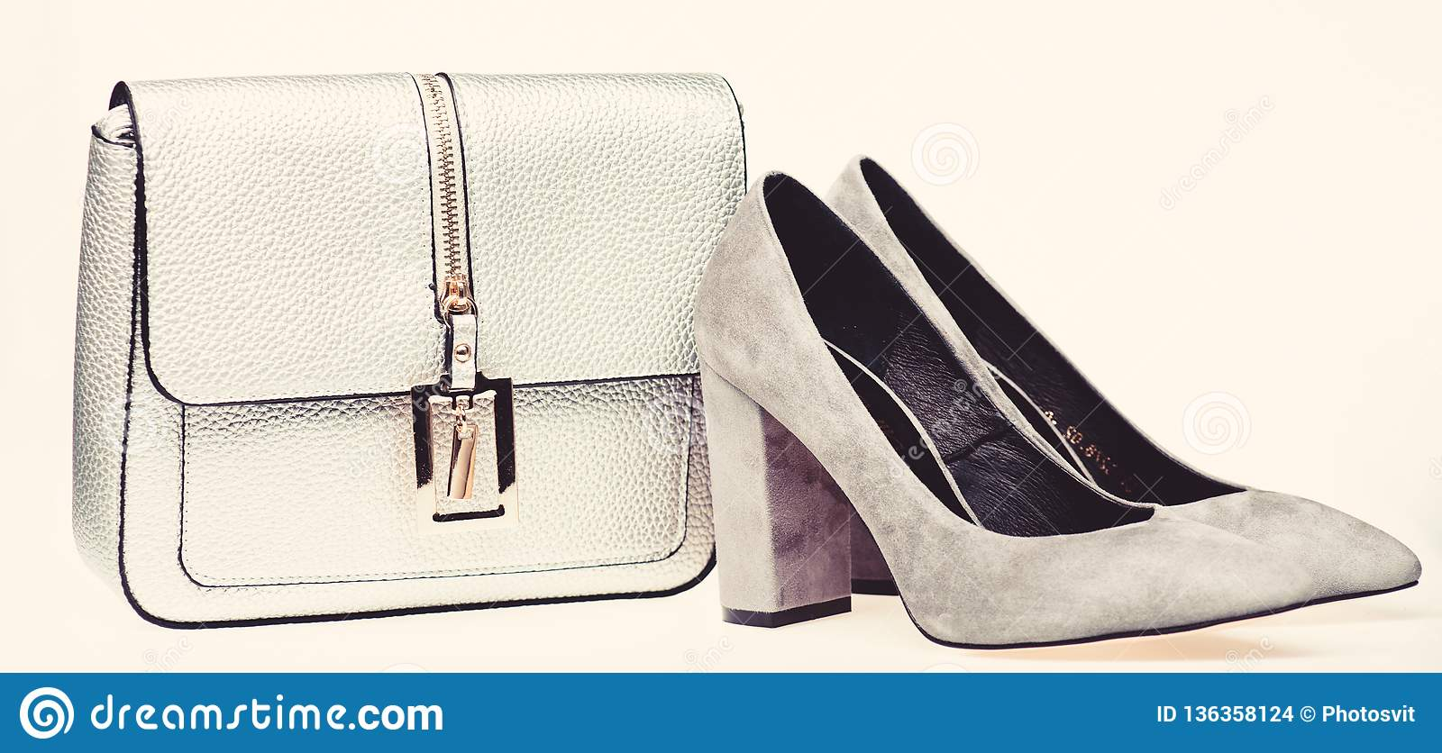 Regarding composite Contributor  Perfect Match Concept. Pair Of Fashionable High Heeled Shoes And Silver  Purse. Shoes Made Out Of Grey Suede On White Stock Photo - Image of  perfect, match: 136358124