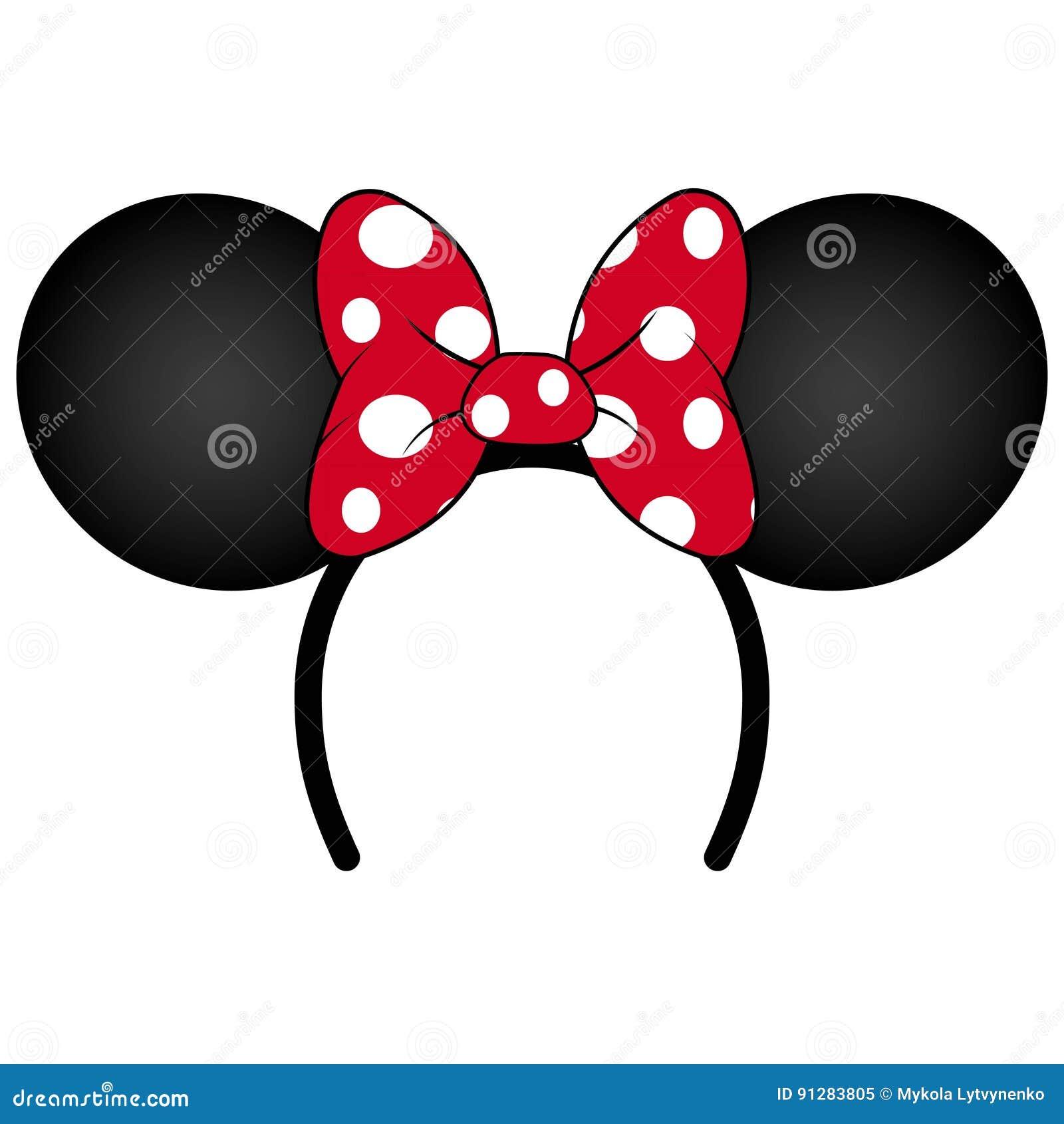 Perfect mysz ucho z czerwoną łęk kapitałką dla przyjęcia urodzinowego lub świętowania