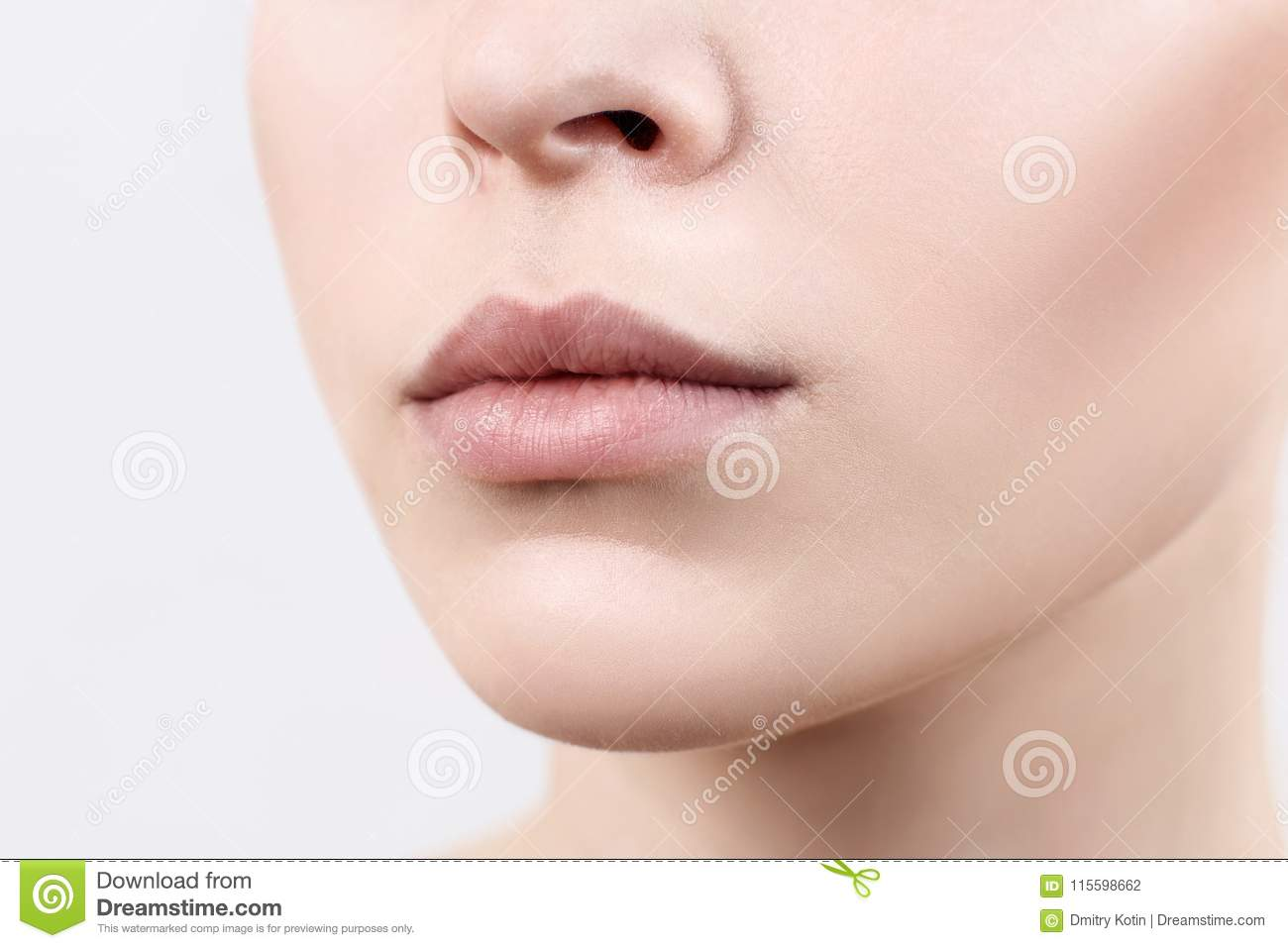 perfect natural lips of young woman close up stock photo image of