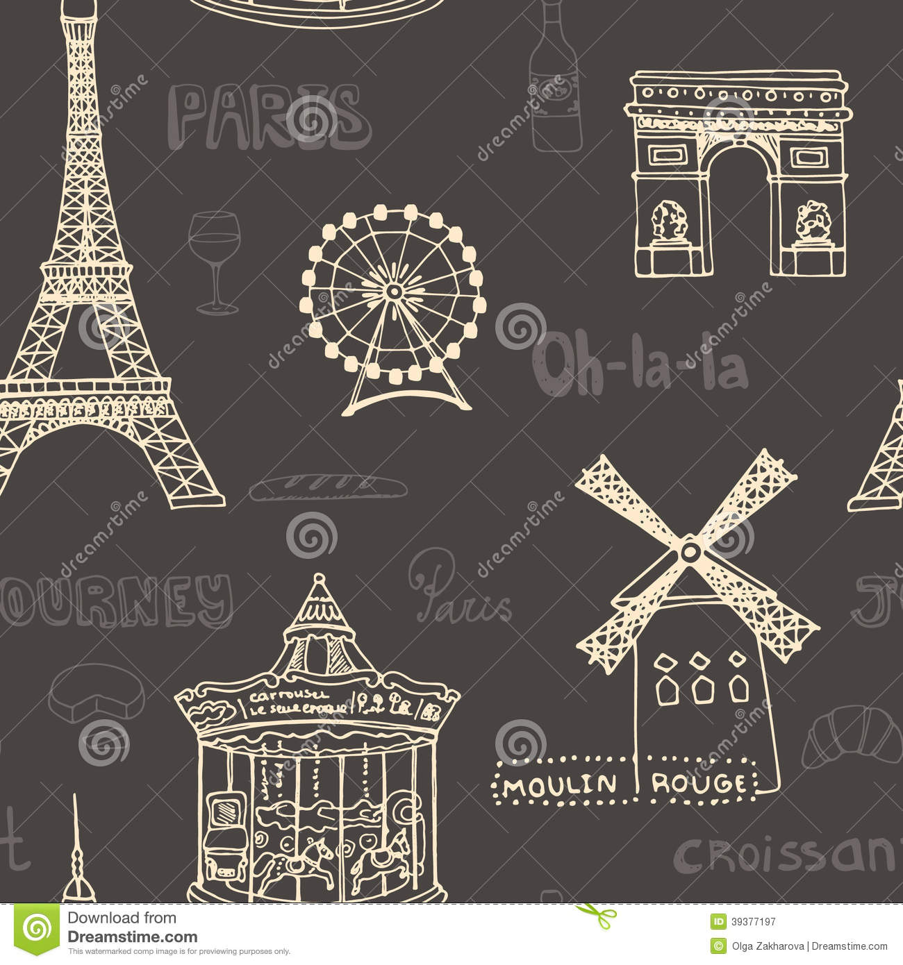 Perfect paris seamless pattern with all symbols stock illustration perfect paris seamless pattern with all symbols biocorpaavc
