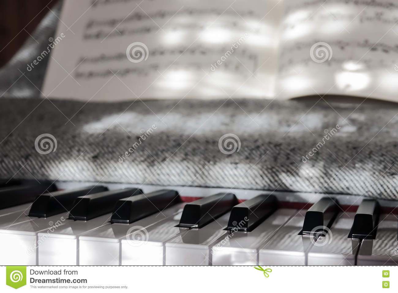 Perfect Piano Keys In Mild Sunlight With Notation Stock
