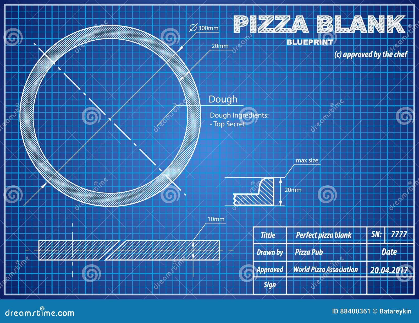 perfect pizza blank blueprint scheme stock vector illustration of