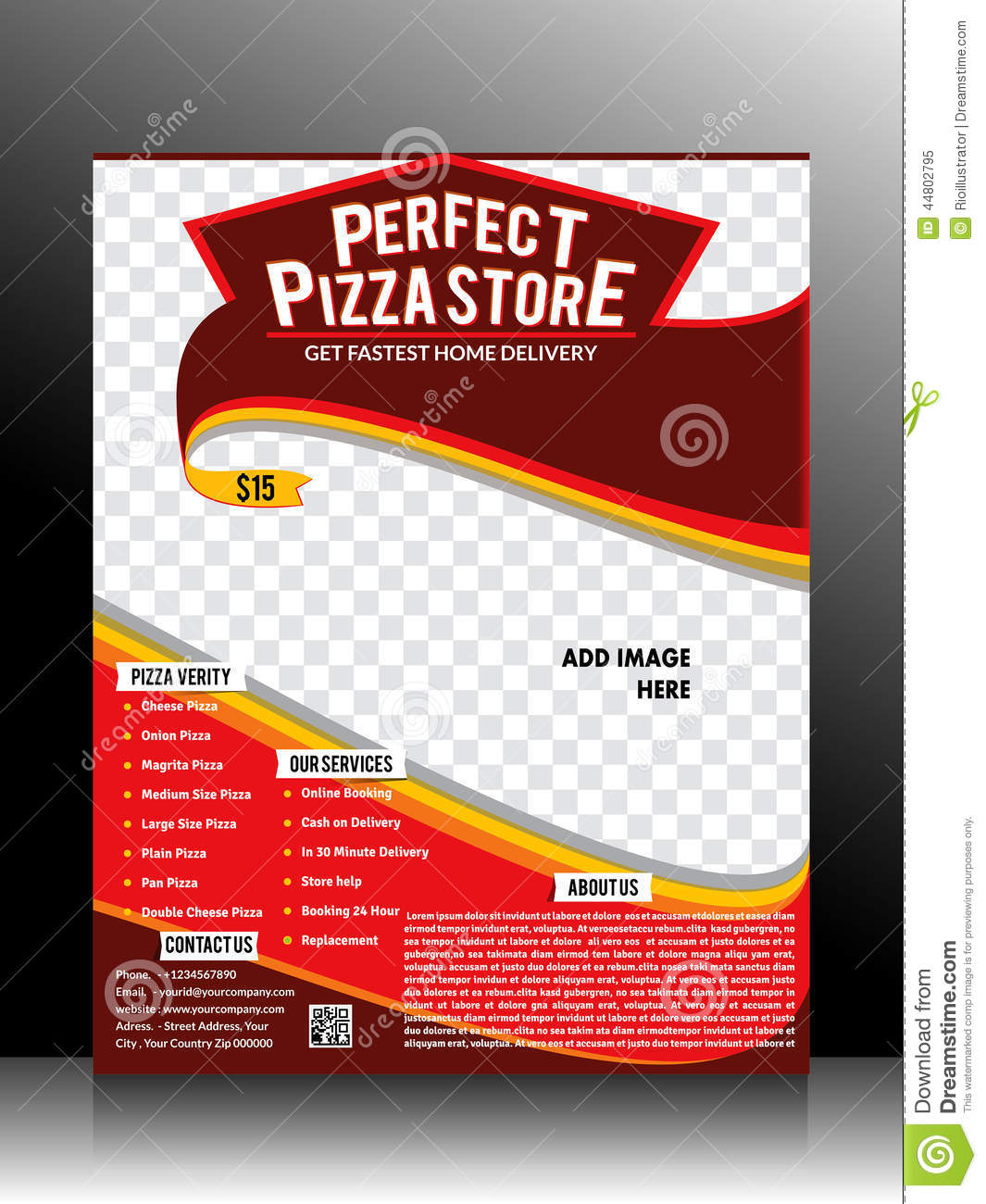 Perfect Pizza Store Flyer Template Stock Vector Image