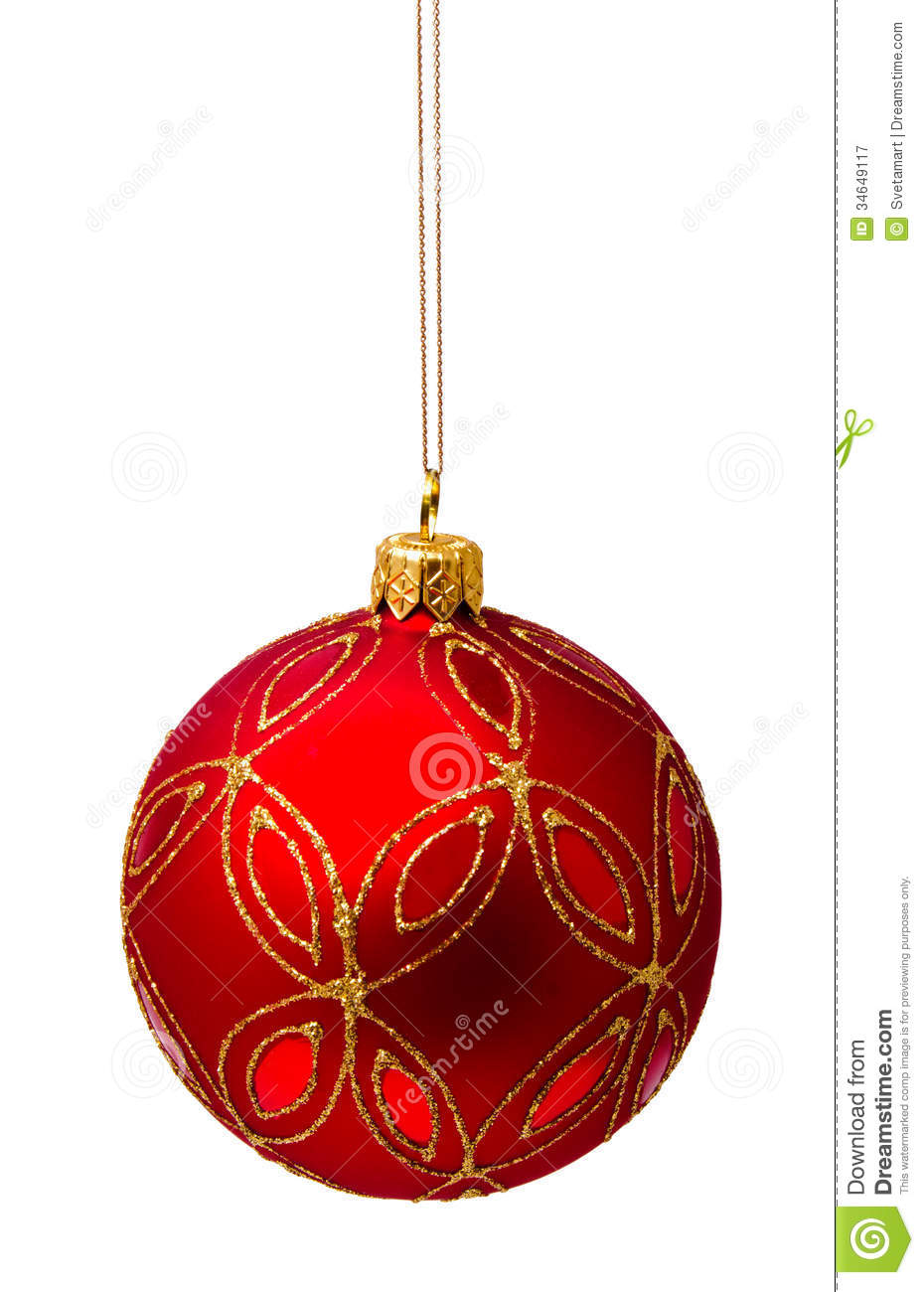 Perfect red christmas ball isolated on white stock image