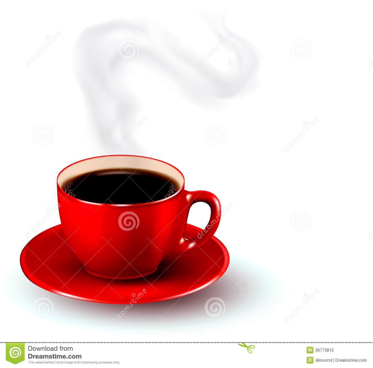 Perfect red cup of coffee with steam. Coffee design template. Vector ...
