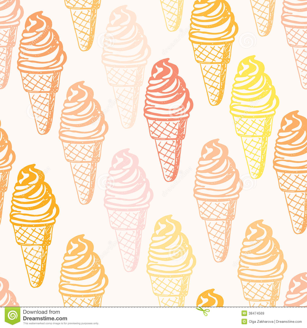 Ice Cream Cones Background Royalty Free Vector Image: Perfect Seamless Pattern With Ice Cream Cones Stock Vector