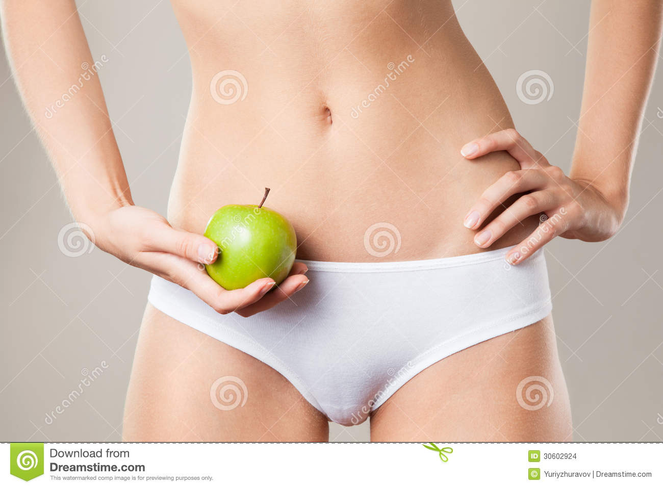 Perfect Slim Woman Body And Apple. Diet Concept Stock ...