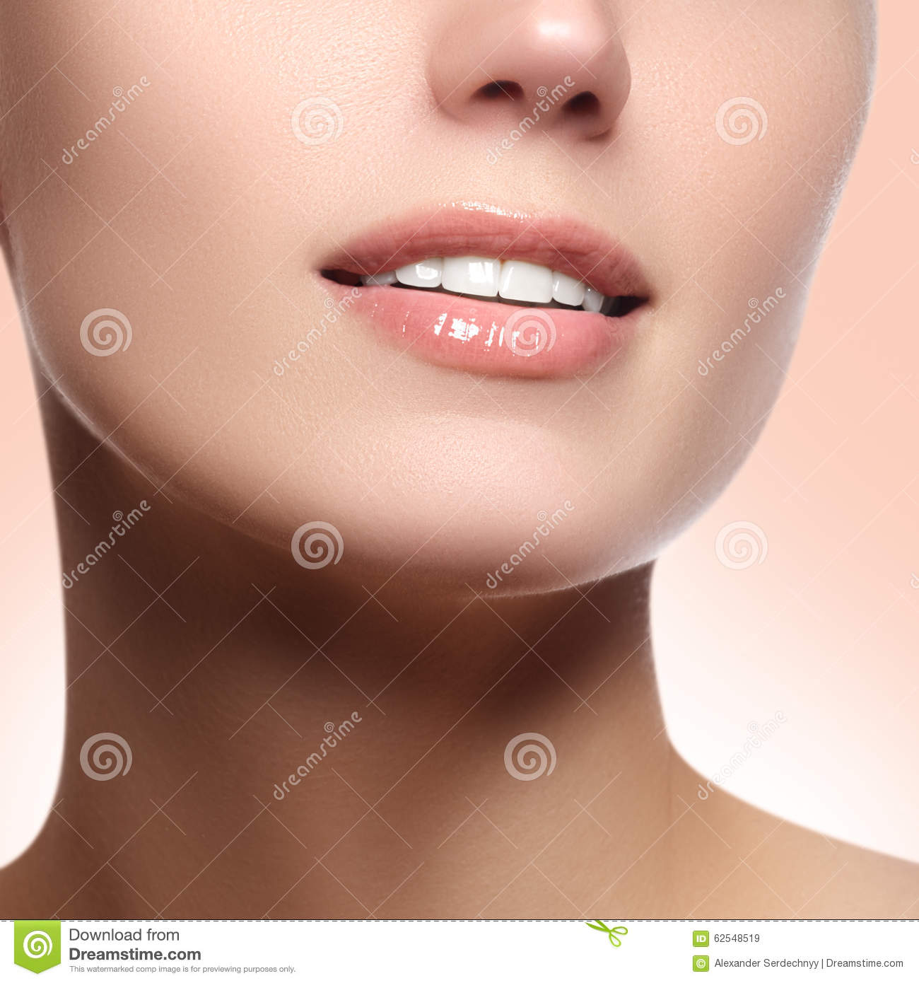 perfect smile with white healthy teeth and natural full lips dental